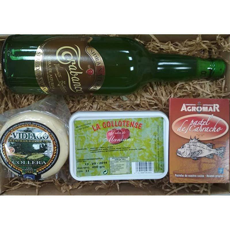 Cesta Gourmet sidra Trabanco queso Vidiago