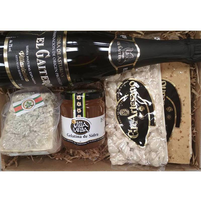 Cesta Navidad 0044 queso Cabrales, turrón y sidra Gaitero