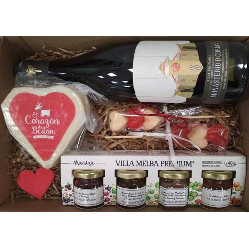 Cesta Gourmet San Valentin - Vino y queso Asturiano